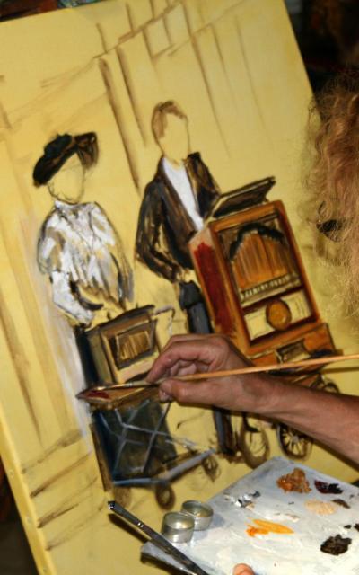 Peinture de tourneurs d'orgue de barbarie